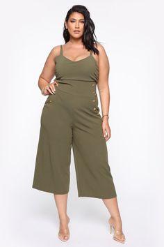 fashion nova Dont Even Know It Jumpsuit - Olive Fashion Nova Fashion Nova Plus Size, Fashion Nova Models, Nova Jeans, Cut And Style, Plus Size Outfits, Scoop Neck, Lady, Clothes, Size Clothing
