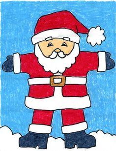 Santa Claus Easy Drawing - Draw the bottom of the jacket. Draw santas sack of toys. Draw Santa Claus Art Projects For Kids Trace with marker and color. Christmas Art Projects, Winter Art Projects, Easy Art Projects, Projects For Kids, Christmas Activites, Drawing Projects, Art Drawings For Kids, Drawing For Kids, Easy Drawings