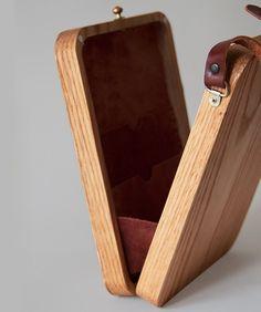 Watermelon Cross Stitched Oak Wood Bag by Grav Grav $400