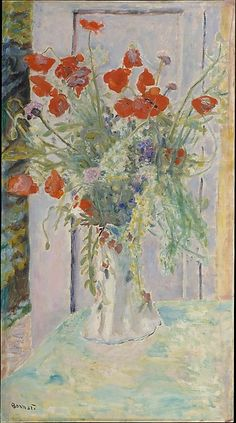 """heaveninawildflower: """" 'Poppies in a Vase' (1926). Oil on canvas by Pierre Bonnard (1867–1947). Image and text courtesy The Metropolitan Museum of Art. """""""