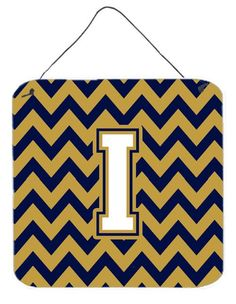 Letter I Chevron Navy Blue and Gold Wall or Door Hanging Prints CJ1057-IDS66