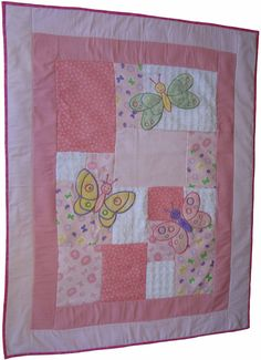 Pink Baby Quilt with butterflies by specialgift on Etsy, $40.00