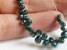 25 Pcs Blue Diamond Faceted Briolette Beads by gemsforjewels