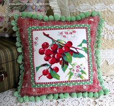 Cherry pom pom pillow #Cherries