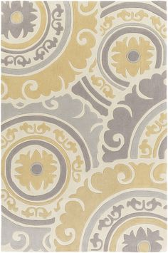 Surya Cosmopolitan Medallion and Damasks Area Rug Yellow, Gray