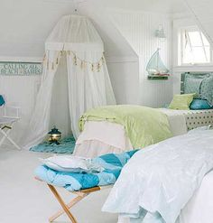 In kid-friendly spaces, there's no such thing as pattern overload. use blues and greens, combine stripes, polka dots, prints w/ chenilles & cottons 4 a lighthearted look