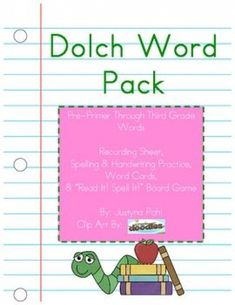 Sight Words PackPre-Primer through 3rd Grade Dolch Lists Recording Sheets Spelling & Handwriting practice. Get yours today! #spellingandhandwriting #spelling #and #handwriting Spelling And Handwriting, Spelling Words, Handwriting Practice, Sight Words, Dolch List, Important Facts, Recording Sheets, Under Pressure, Card Reading