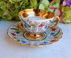 Vintage Rosina Bone China ~ Porcelain Cup & Saucer ~ Enamel Flowers ~ Gold Gilt #Rosina