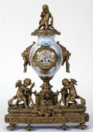 Massive French Porcelain and Patinated Metal Mantel Clock