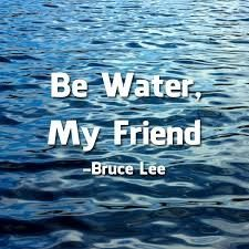"""Empty your mind, be formless. Shapeless, like water. If you put water into a cup, it becomes the cup. You put water into a bottle and it becomes the bottle. You put it in a teapot, it becomes the teapot. Now, water can flow or it can crash. Be water, my friend."""""""