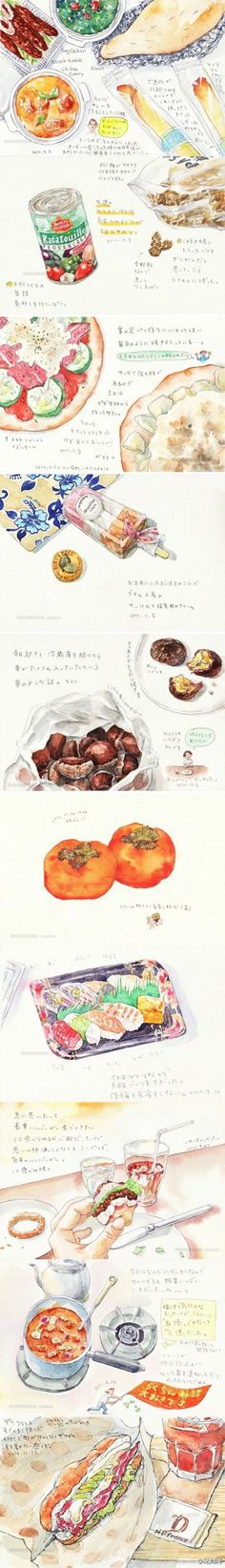 Imagine how delicious looking and beautiful a food drawing with these illustrations in them every day would be ^_^ Food Drawing, Painting & Drawing, Cute Illustration, Watercolor Illustration, Dm Poster, Watercolor Food, Watercolour, Pinterest Instagram, Food Sketch