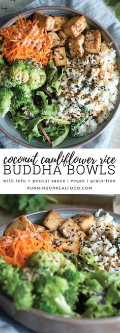 Creamy, coconut-infused cauliflower rice gets topped with crispy baked tofu, steamed broccoli, grated carrot and creamy coconut peanut sauce in this healthy and delicious buddha bowl.
