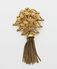 Vintage Hattie Carnegie Brooch Rhinestones Tassel by HeirloomBandB, $58.00