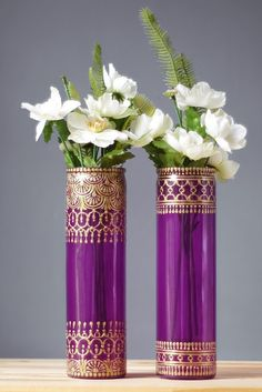 Tall Cylinder Vases Amethyst Glass with Golden by LITdecor on Etsy