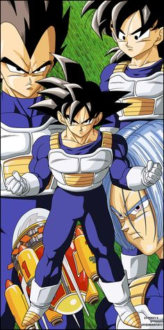 Dragon Ball Z - Saiyans by el-maky-z.deviantart.com on @deviantART. Fangirling because the artist gave Vegeta's hair a slight brown tint. Crying because Trunks' color scheme is flipped. Purple hair. Blue eyes. Please, it's not that hard to remember. :(
