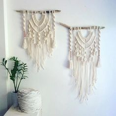 Macrame Wall Hanging Natural Cotton Copper on Driftwood