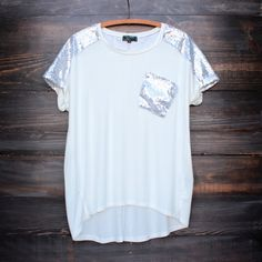 white vintage inspired silver sequin oversized top - shophearts - 1