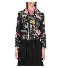 GUCCI Embroidered Studded Leather Biker Jacket. #gucci #cloth #coats & jackets