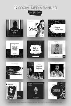 Black & White Social Media Designs Premium Social Media Template Big Screenshot