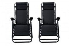Zero Gravity Chairs Case Of (2) Black Lounge Patio Chairs Outdoor Yard Beach