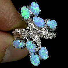 Zilveren edelsteen ring blauw fire Opaal maat 18.1 / 18.5 mm #opalsaustralia