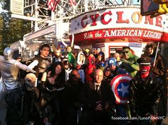 Coney Island is the place to be if you want to people watch. The Super Zeros stopped by to take a photo in front of The Cyclone Roller Coaster. ( #superhero #xmen)