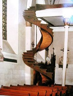 The original staircase at Loretto Chapel, Santa Fe, NM (before railing was added) If I am ever i New Mexico, I need to see this staircase. Grand Staircase, Staircase Design, Staircase Ideas, Stairway To Heaven, Beautiful Architecture, Architecture Design, Loretto Chapel, Escalier Art, Take The Stairs