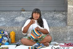 Nilsa is an artisan from the Guaraní indigenous population in Paraguay. She sells her work in downtown Asunción, Paraguay American Spirit, Native American, South America, Outdoor Blanket, Album, People, Kids, Scrapbook, Women