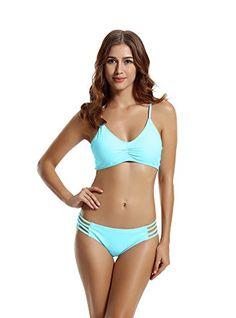 ZERACA Women's Strap Side Bottom Halter Racerback Bikini Swimsuits (XL18, Aqua Sky) - http://todays-shopping.xyz/2016/07/12/zeraca-womens-strap-side-bottom-halter-racerback-bikini-swimsuits-xl18-aqua-sky/