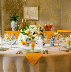 Hostess with the mostest Kimberly Schlegel Whitman's tips for setting a table stamped with initials.