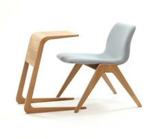 solid oak riley table with our viv wood lounge chair