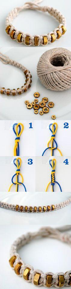 "Hexnut Shamballa Bracelet DIY, step by step here <a href=""http://tech.beads.us/details-Hexnut-Shamballa-Bracelet-2975.html"" rel=""nofollow"" target=""_blank"">tech.beads.us/...</a>"
