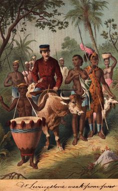 Some of the world's most famous explorers come from Scotland. This is David Livingstone, depicted around 1850, riding a cow and surrounded by Africans