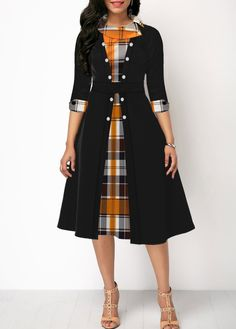 Button Detail Plaid Print Three Quarter Sleeve Dress Women Clothes For Cheap, Collections, Styles Perfectly Fit You, Never Miss It! Trendy Dresses, Tight Dresses, Women's Fashion Dresses, Plus Size Dresses, Sexy Dresses, Casual Dresses, Dresses For Work, Elegant Dresses, Summer Dresses