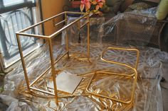 paint an Ikea desk gold- ikea hack - Ikea DIY - The best IKEA hacks all in one place Recycled Furniture, Home Decor Furniture, Home Decor Bedroom, Painted Furniture, Diy Home Decor, Ikea Desk, Ikea Dresser, Best Ikea, Diy Home Crafts