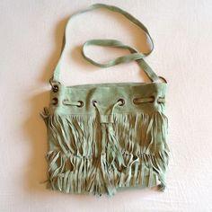 Mint Green Suede Leather Tassel Fringe Purse Bag NWOT Boho Hippie Mint Sage Sea Foam Green Suede Leather Tassel Fringe Messenger Bag/Shoulder Bag/Cross-body Purse. Cotton liner inside with pockets.  Bags Crossbody Bags