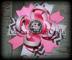 Cute Hair bow boutique style owl hair bow Pink by tootoocute4you, $7.00