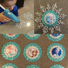 Frozen Decorations, Disney Christmas Decorations, Christmas Tree Themes, Diy Christmas Ornaments, Christmas Projects, Christmas Crafts, Snowflake Ornaments, Christmas Colors, Glass Ornaments