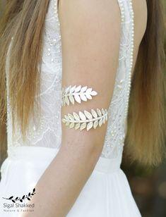 Upper Arm Cuff Bracelet, Silver Arm Band, Silver Arm Bracelet, Leaf Bracelet, Bridal Bracelet, Bridesmaid Bracelet, Wedding Bracelet, Prom by sigalshakkedjewelry on Etsy https://www.etsy.com/listing/510575141/upper-arm-cuff-bracelet-silver-arm-band