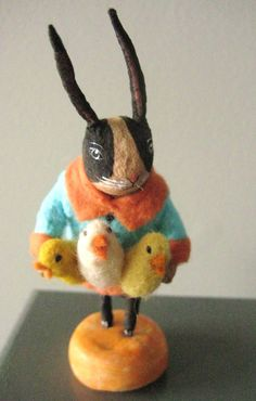 Vintage Style Spun Cotton Rabbit with chick s by MRCROWSGARDEN