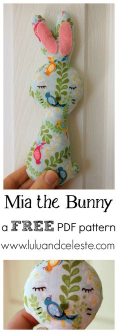 Mia the Bunny softie FREE pattern -Lulu & Celeste. This sweet little bunny can be sewn entirely by hand. A good beginner's project for older children it can be sewn in an afternoon.