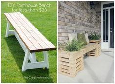 DIY Farmhouse Bench and Bench Craft in this Front Porch Ideas Post on Frugal Coupon Living - Inspire Your Welcome This Spring!