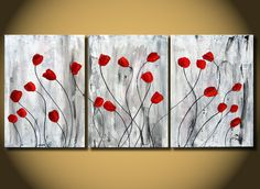 Red Tulips flower painting, Original Art Nature heavy texture on Canvas, Red floral painting, natural home decor, botanical tulips, abstrac. $225.00, via Etsy.