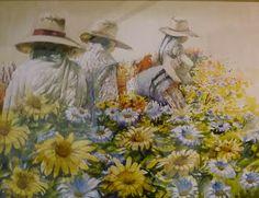 Cuadro de Felix Espinoza Vargas, un pintor que a pesar de no tener manos y faltarle una pierna, nada le ha impedido comvertirse en un gran artista.