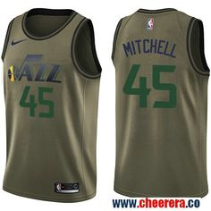 e178d5a24 Men s Nike Utah Jazz  45 Donovan Mitchell Green Salute to Service NBA  Swingman Jersey Nba