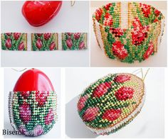 Beautiful beaded eggs with graphs, site needs translation