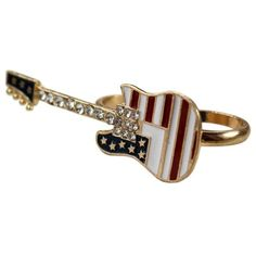 Guitar Double Finger Ring ($5.99) ❤ liked on Polyvore