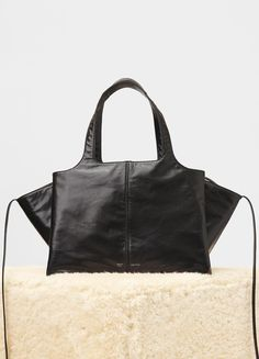 Medium Tri-Fold Bag in Paperweight Calfskin - Céline