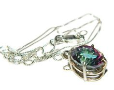 Mystic Topaz Necklace, Sterling Silver Chain, Pendant Necklace - Edit Listing - Etsy