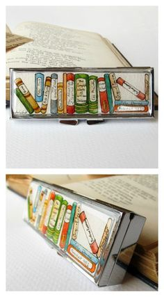 Collection of Books Pill Box -- Bookends Hand Painted 3 Section Pill Case by Sarah-Lambert Cook  http://www.sarahlambertcook.com/collections/pill-boxes/products/collection-of-classics-hand-painted-3-section-pill-box#